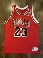 Vintage MICHAEL JORDAN #23 Chicago Bulls Red Champion Jersey 44 Large Last Dance