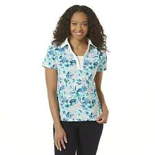 Women's Petites Laura Scott Layered Look Polo Tropical Blue Size MED. Petite NEW