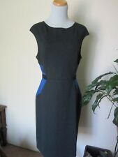 M Avon BLUE DARK GRAY Color Block Dress bodycon wiggle career knit sheath
