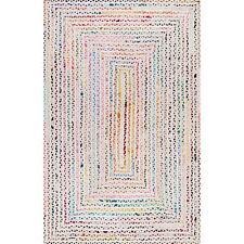 "6x9""Feet White Braided Rectangle Chindi Area Rag Rug Hardwood Floors Woven Rug"
