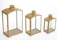 3er Kerzenhalter Gartenlaterne Dekoration Laterne Metall Windlicht Goldpatina