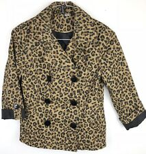 H&M Divided Womens Cropped Peacoat Lightweight Peplum Back Leopard Print Size 8