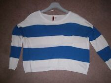 Ladies Blue and white stripe jumper by H & M size 10
