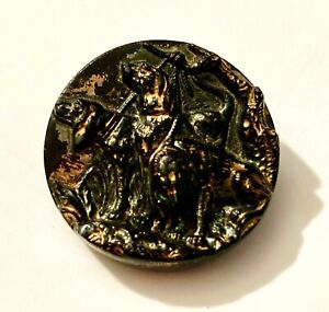 """Med Antique Black Glass Button 3 Hound Dogs with Gold Luster 1"""" #4725"""