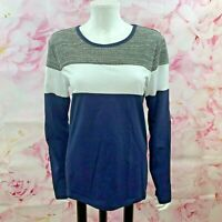 NWT, Women's Long Sleeve Top Size Med Color-Block Pattern Blue White Gray HEMOON
