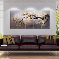 Large Wall Art 5 Piece Canvas Set Plum Tree Oil Paintings Spring Nature Artwork