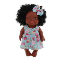 27cm Vinyl Reborn Girl Doll that Look Real African with Blue Floral Dress