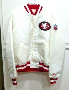 Vintage San Francisco 49ers Pro Line Starter Satin Jacket White Large Football