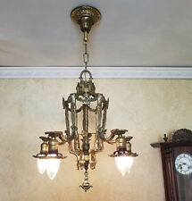 364b Vintage 20s 30s Ceiling Light  Brass Chandelier High Quality