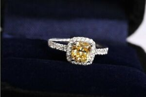 Vintage Style Yellow Stone Cubic Zirconia 925 Sterling Silver Wedding Band Ring
