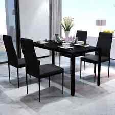vidaXL Conjunto de Comedor 5 Pieza Negro Sillas Muebles Cocina 1 mesa y 4 sillas