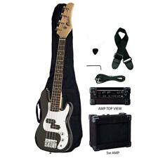 "Raptor 38"" Kid's 3/4 Size Junior Kid's 4 String Electric P Bass Pack - BLACK"