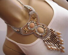 Damen Collier Hals Kette Modekette kurz Jaspis Hippie Ethno Boho Ibiza Co5786