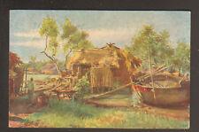 BORDS D'ARROYO (INDOCHINE) HUTTE & BARQUE en 1922