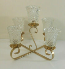 Homco Home Interiors 5 Clear Glass Votive Candle Holders w Brass metal holder