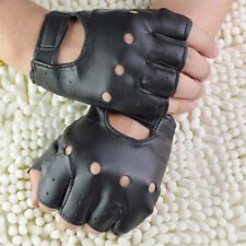 Men Half Finger Biker Driving Faux Leather Gloves Black Fingerless Gloves Neyl