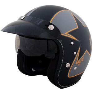 Duchinni D501 Garage Open Face Motorcycle Helmet Black Crash Lids Scooter Bike