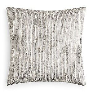"""Hudson Park Collection Embroidered Texture 20"""" Decorative Pillow - Light Gray"""