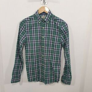 Next Mens Dress Shirt Checked Green Cotton Sz XS