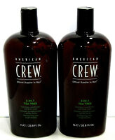 2 X American Crew Tea Tree 3 in 1 Shampoo Conditioner Body Wash 33.8 Liter Duo