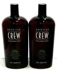 2 X American Crew Tea Tree 3 in 1 Shampoo Conditioner Body Wash 33.8 Liter Duo