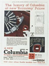 OLD VINTAGE ADVERT COLUMBIA RADIO GRAMOPHONE c1931 MUSIC RECORDS