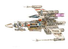 STAR WARS Luke Skywalker X Wing Cutaway Drawing Wall Art Picture Prints (A3)