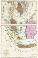 Map of Singapore Thailand Siam Malaysia Sumatra Borneo; Antique Map 1710
