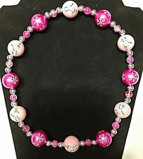 """NEW Chunky Frozen Olaf and Snowflake Bead Necklace 20"""""""