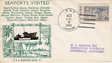 1956 GMAHLE USS CANISTED NAVAL MILITARY COVER FDC/EVENT USS ELKHORN AOG-7 SEAPOR