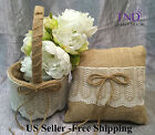 BURLAP RUSTIC FLOWER GIRL BASKET/RING PILLOW WITH IVORY LACE