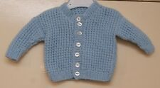 Baby Unisex Blue Hand Knitted Cardigan size 0-3 mths New