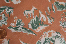 ONE VINTAGE FEEDSACK - NOVELTY-FENCES-TREES-HORSES - BEIGE   37x41 PRISTINE!