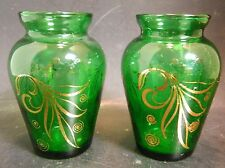 "Vintage Pair of Forest Green Vases w/ Gold Overlay 3.75"" x 2.25"" Excellent Cond"