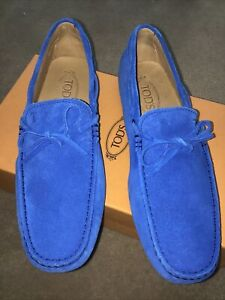 VTG Brand New In Box Gorgeous Mens Blue Suede Tie Tod's Mocs/Drivers size 8/US 9