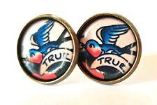 True Earrings Bronze Studs Jewellery Tattoo Rockabilly Kitsch Punk Swallow Bird