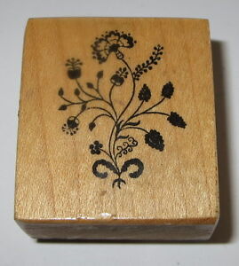 PSX Flowers Rubber Stamp Stems Leaves Garden Raspberries Wood Mounted