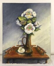 16x20 Oil Painting White Flowers Lotus Pod in Handled Vase on Wood Table signed