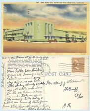 NBC Radio City Sunset & Vine Hollywood California 1938 Postcard Building Autos
