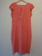Dorothy Perkins body con fitted summer wedding pink lace floral dress uk size 16