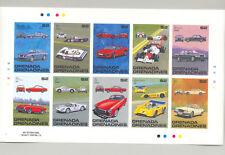 Grenada Grenadines #1018-1020 Automobiles 3v M/S of 10 Imperf Proofs