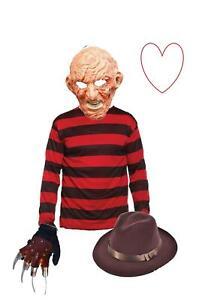 Freddy Krueger Latex Mask Glove Hat Jumper Halloween Nightmare Fancy Dress