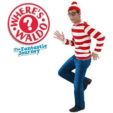 Mens Where's Wally Waldo Costume Kit Top Hat Glasses Book Week Outfit Cosplay