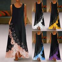 Women Sleeveless Holllowed Print Long Maxi Dress Bohemia Beach Shirt Tank Dress