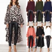 Womens Fashion Puff Sleeve Baggy Asymmetric Chiffon Long Tops Blouse Shirts