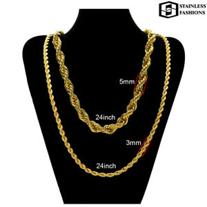 Rope Chain Necklace Gold Filled 18 K, 24 Inches, 3 and 5 mm Widths Available