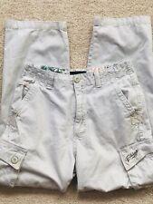 Boys Billabong Cargo Pants - Size 27 - Inseam 26 - Beige - Pockets