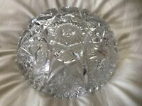 Lot of two CUT GLASS BOWLS (Heavy) Gorgeous Design Clear glass Beveled Edges EUC