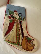 Needlepoint By Hand Embroidered Christmas Stocking Vintage Wool / Velvet / Santa
