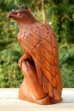 """12"""" Large Wooden Eagle Statue Hand Carved Sculpture Figurine Art Home Decor Gift"""